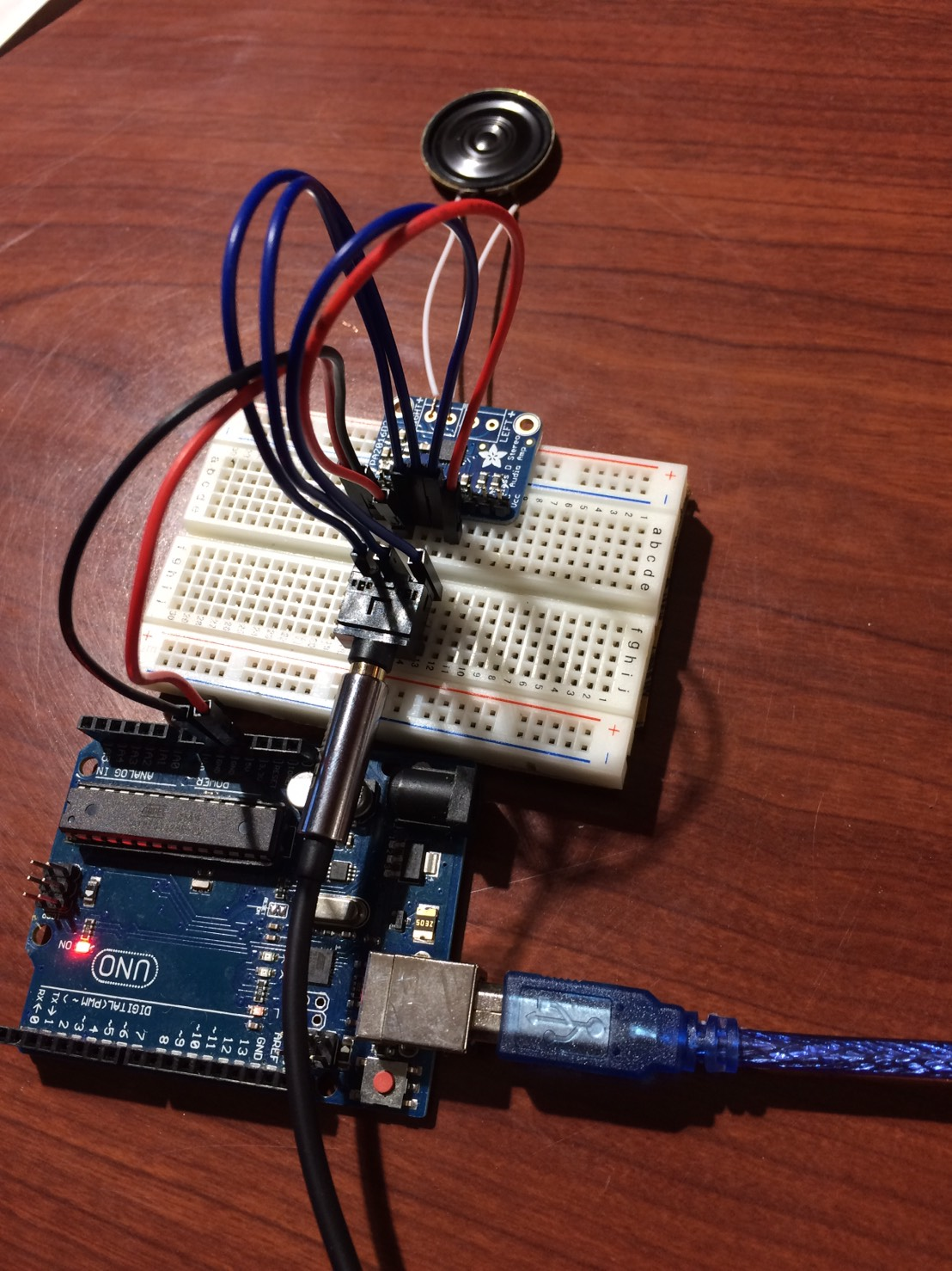 Adafruit Tpa2016 With Arduino Kentaro Tanaka Wiring A Working Breadboard From Circuit Diagram Is Easy If You Can Connect Everything Correctly Get Similar One Like The Image Above Well Phone That Being Connected 35mm Headphone Jack